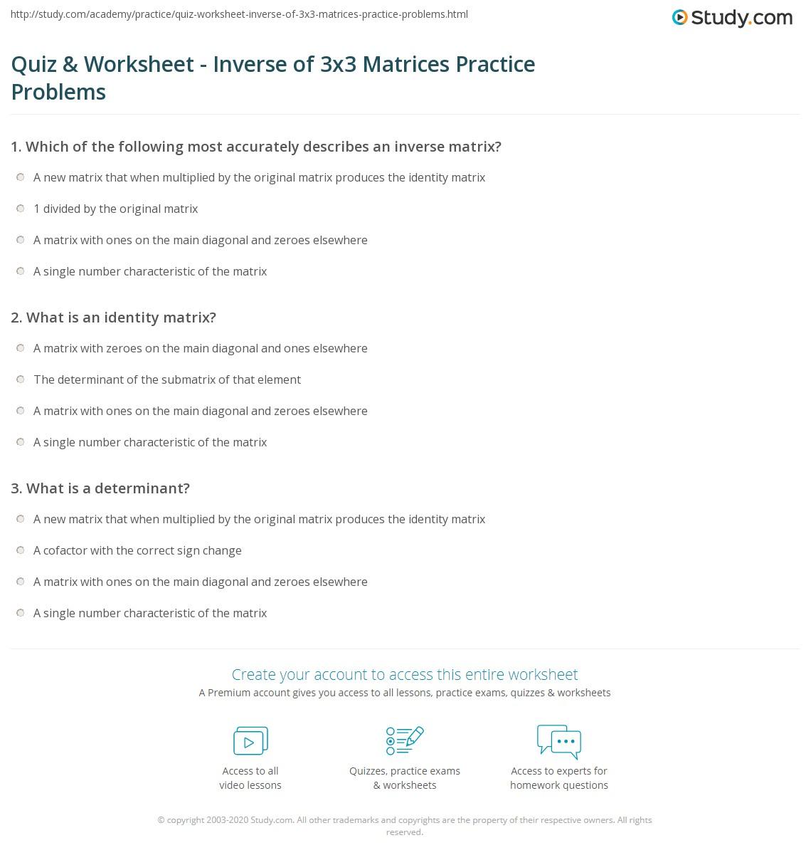 Matrix Operations Worksheet Together With Stunning Inverse Matrix ...