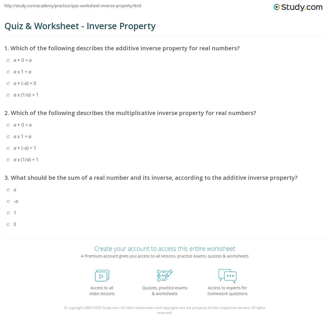 quiz worksheet inverse property. Black Bedroom Furniture Sets. Home Design Ideas