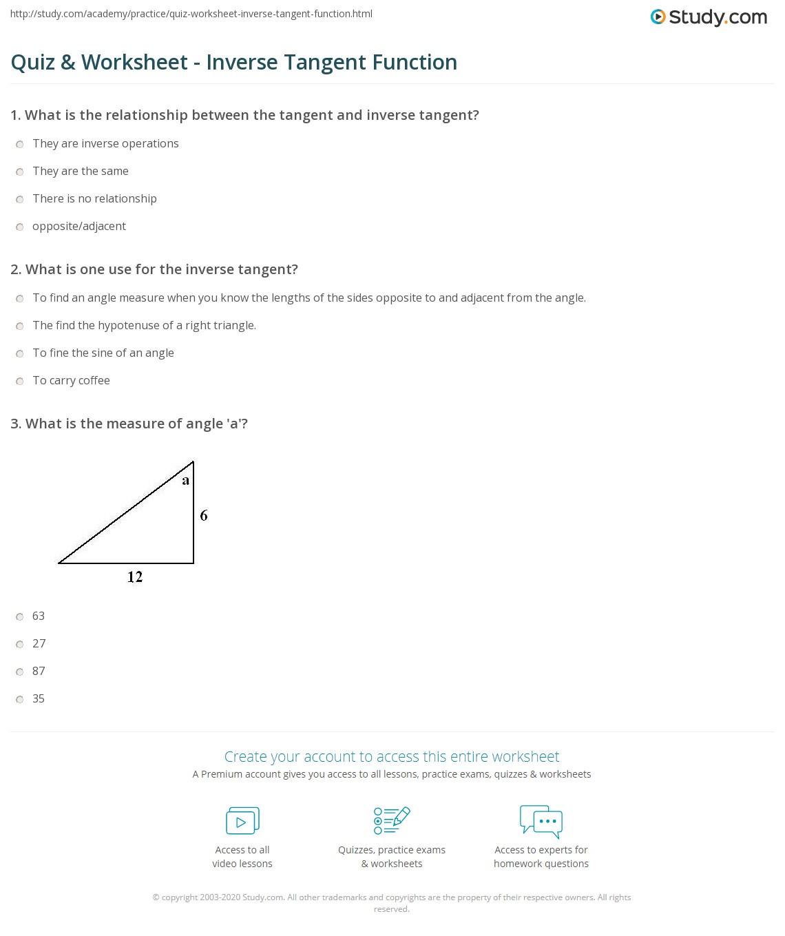 quiz worksheet inverse tangent function. Black Bedroom Furniture Sets. Home Design Ideas