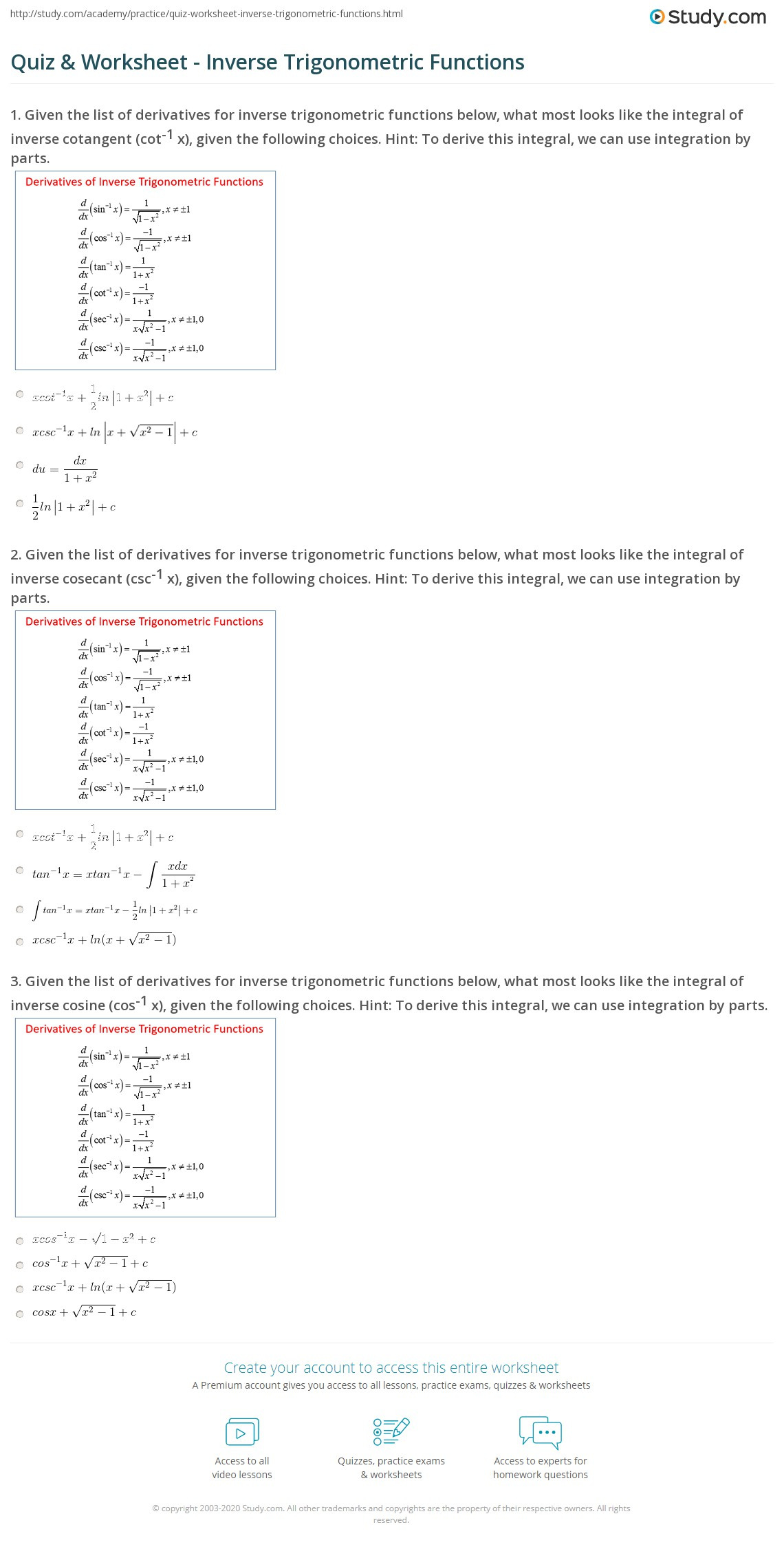 Quiz & Worksheet - Inverse Trigonometric Functions | Study com