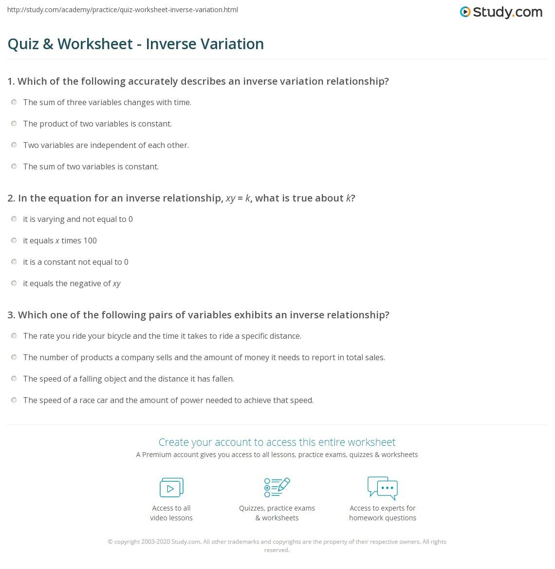 Worksheets Worksheet On Inverse Variation quiz worksheet inverse variation study com print definition equation examples worksheet
