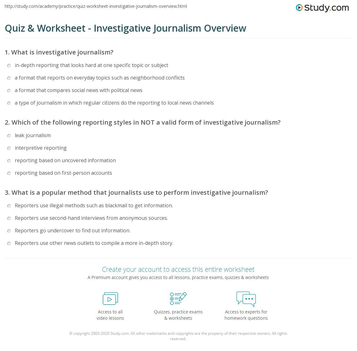 quiz worksheet investigative journalism overview study com