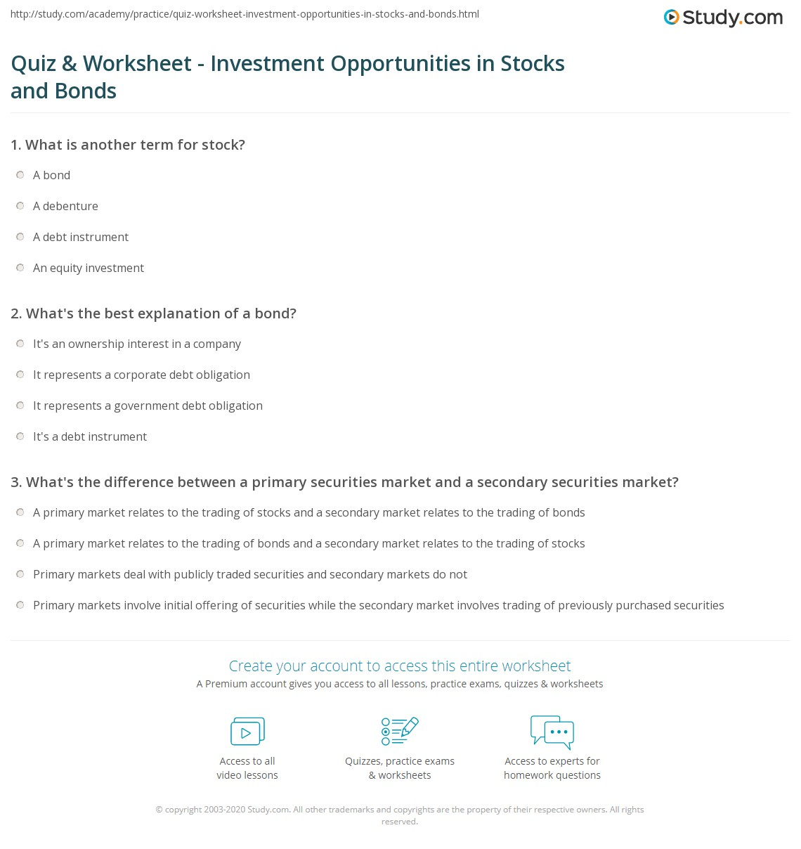 Quiz Worksheet Investment Opportunities In Stocks And Bonds