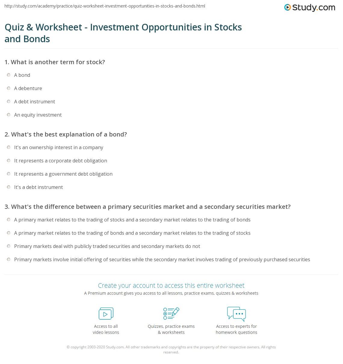 Printables Investment Worksheet quiz worksheet investment opportunities in stocks and bonds print worksheet