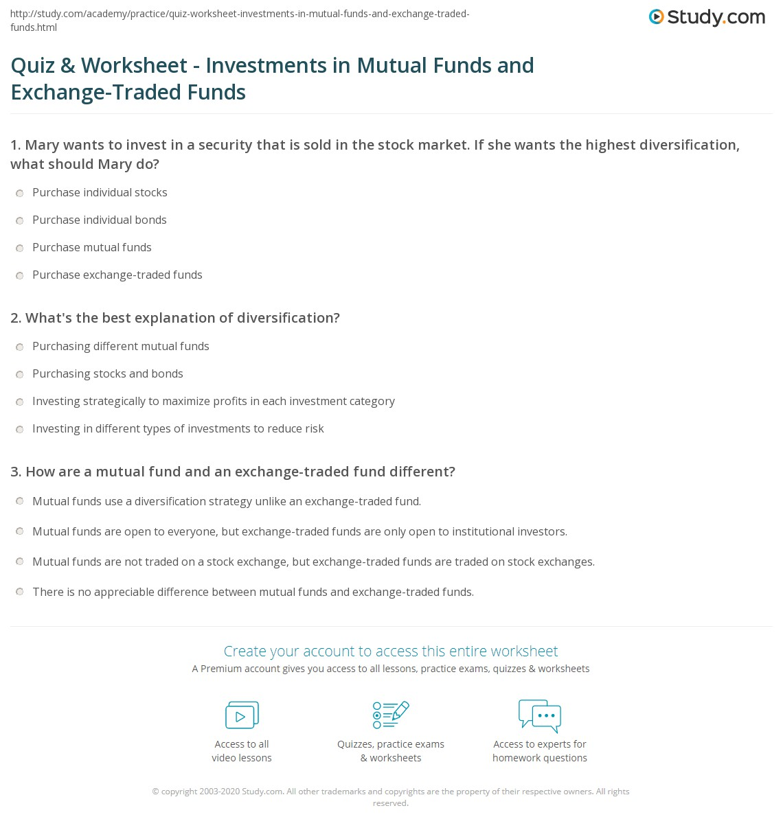 Quiz & Worksheet - Investments in Mutual Funds and Exchange