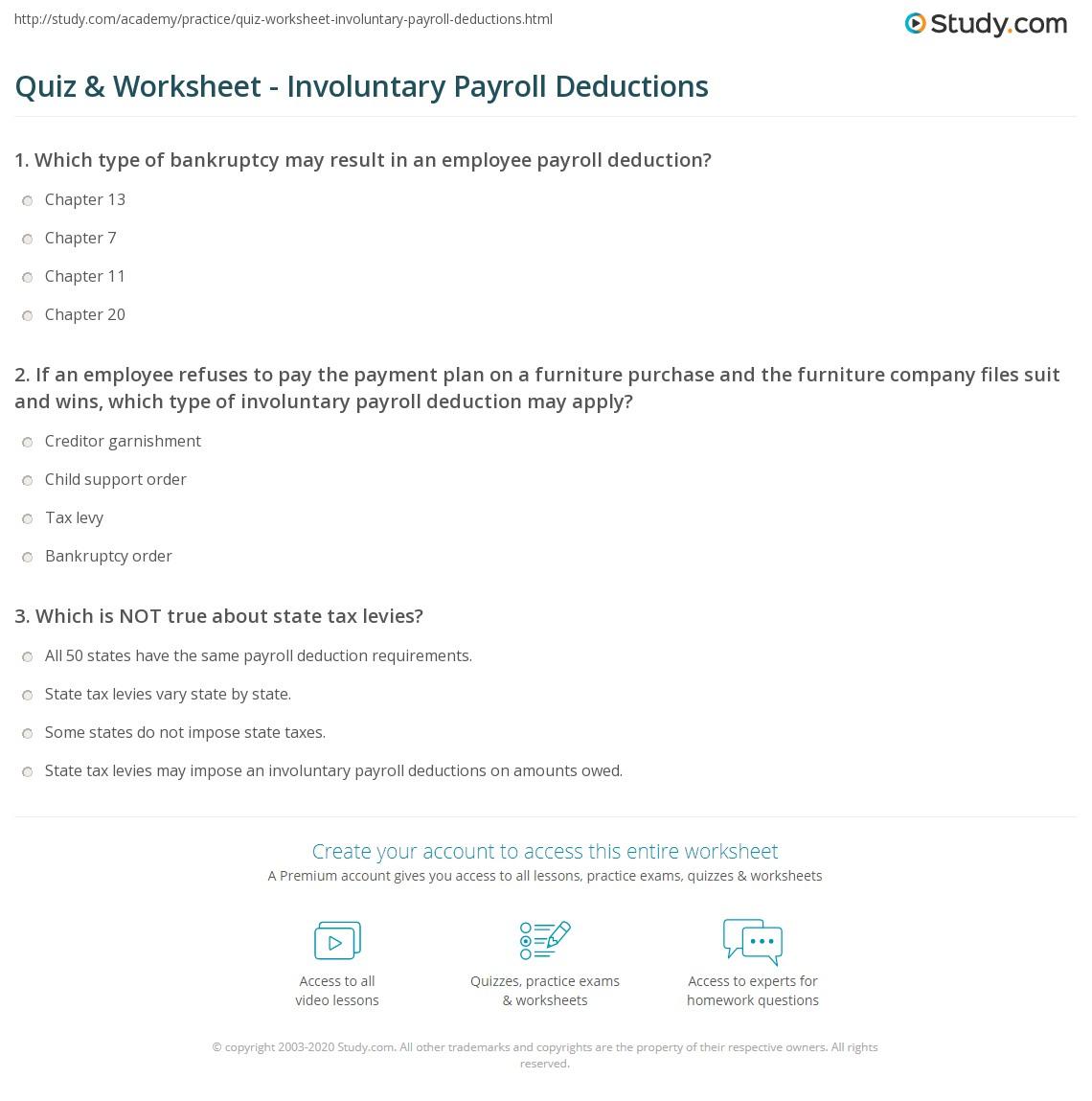 worksheet Payroll Worksheet quiz worksheet involuntary payroll deductions study com print definition process calculation worksheet