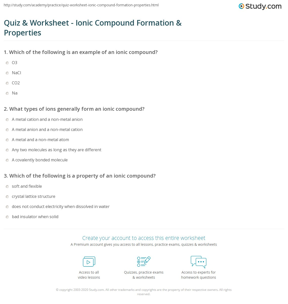 Quiz & Worksheet - Ionic Compound Formation & Properties | Study.com
