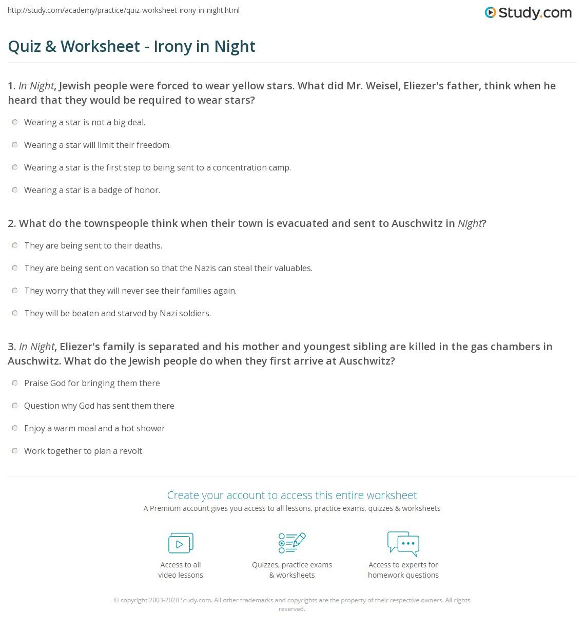 Quiz Worksheet Irony In Night Study Com