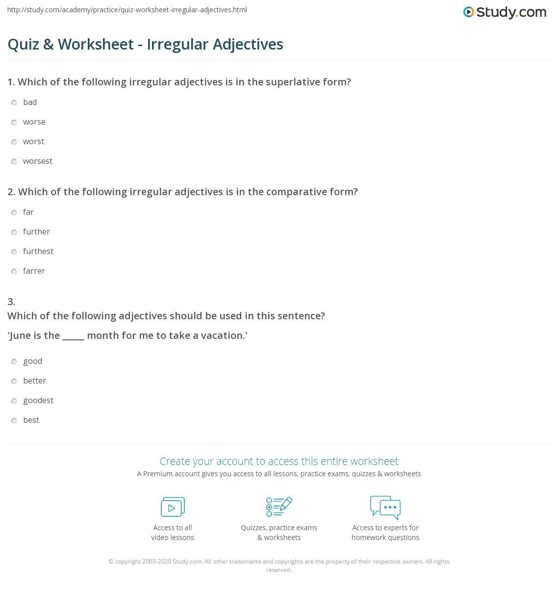 worksheet Adjectives Worksheets 3rd Grade quiz worksheet irregular adjectives study com print definition examples worksheet