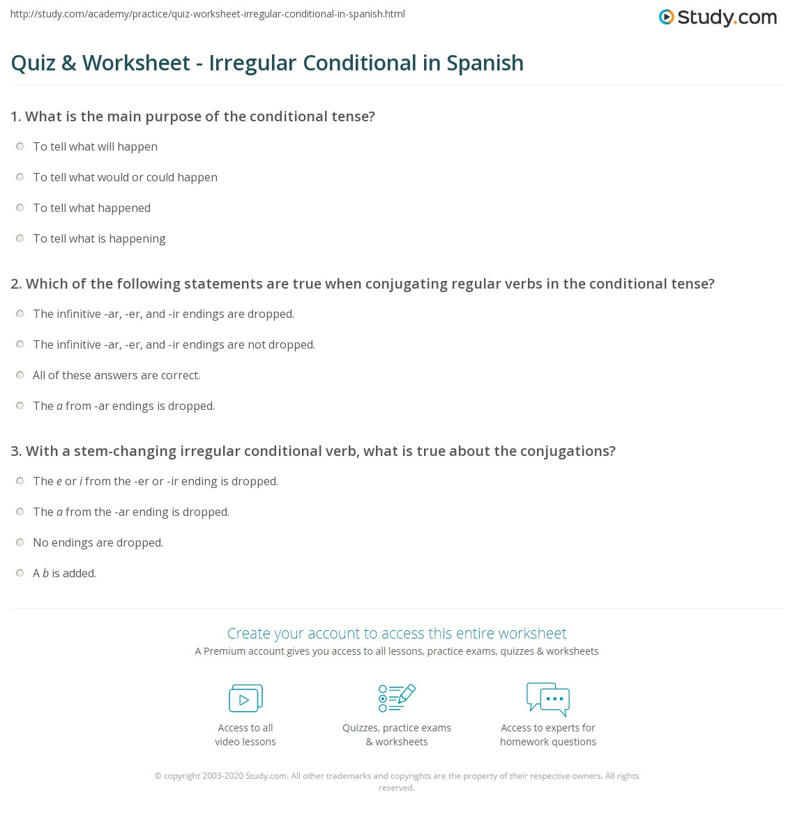 Quiz Worksheet Irregular Conditional In Spanish