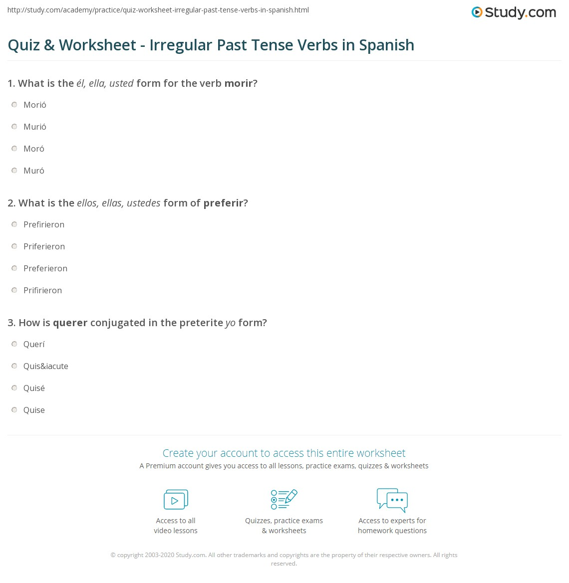 Quiz Worksheet Irregular Past Tense Verbs In Spanish