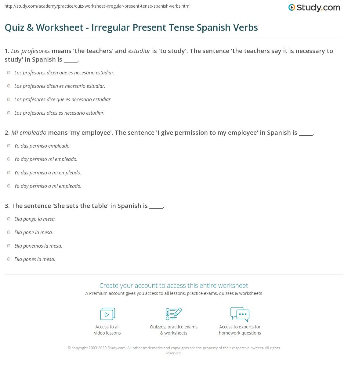 Quiz & Worksheet - Irregular Present Tense Spanish Verbs | Study.com