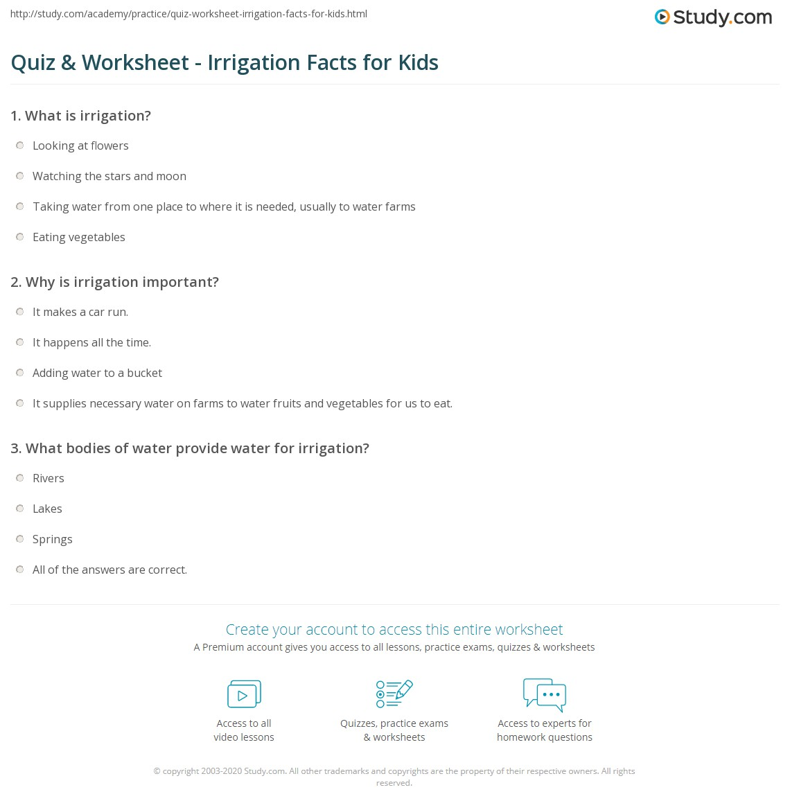 Quiz worksheet irrigation facts for kids study print irrigation lesson for kids worksheet xflitez Choice Image