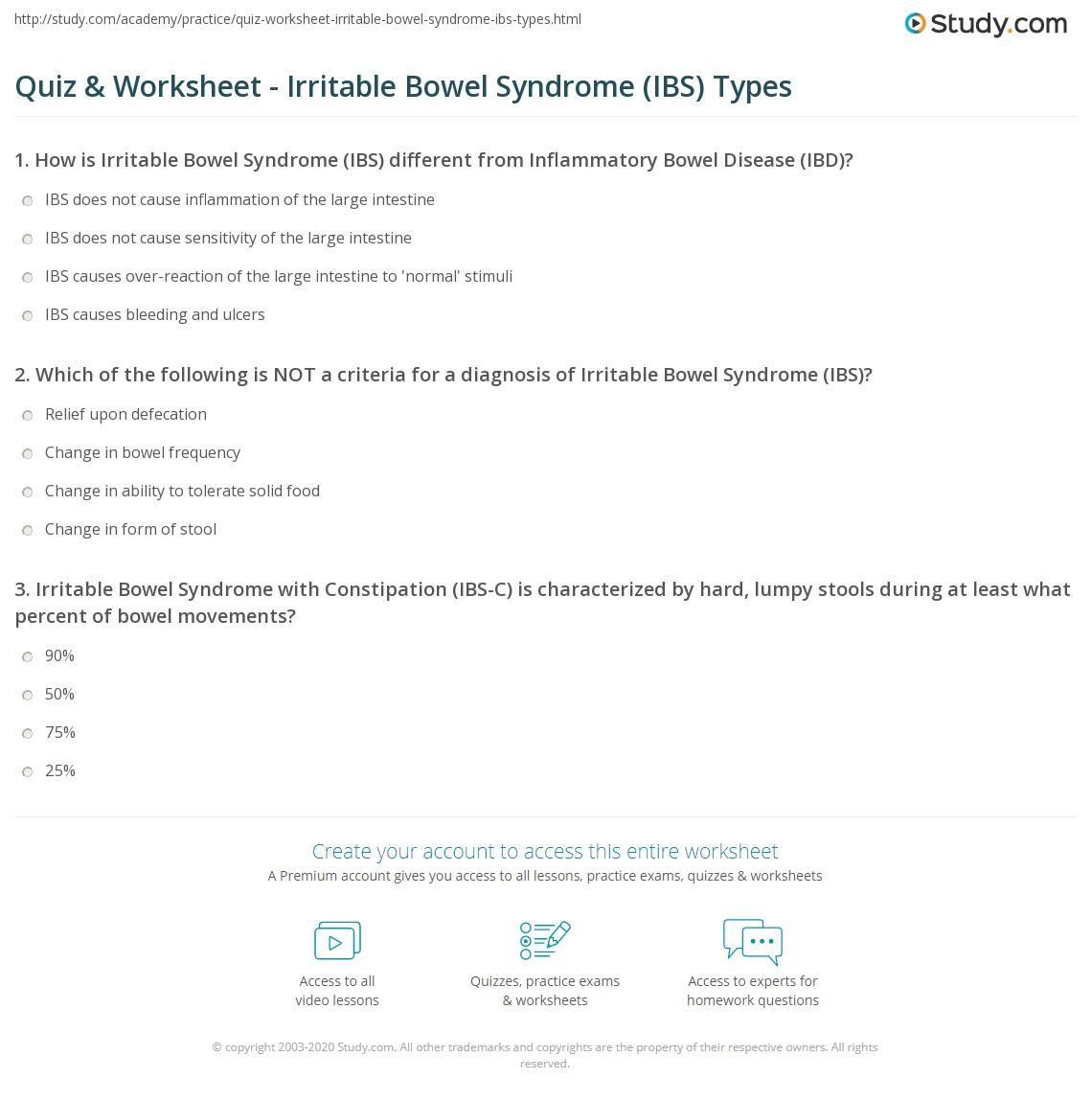 Quiz & Worksheet - Irritable Bowel Syndrome (IBS) Types