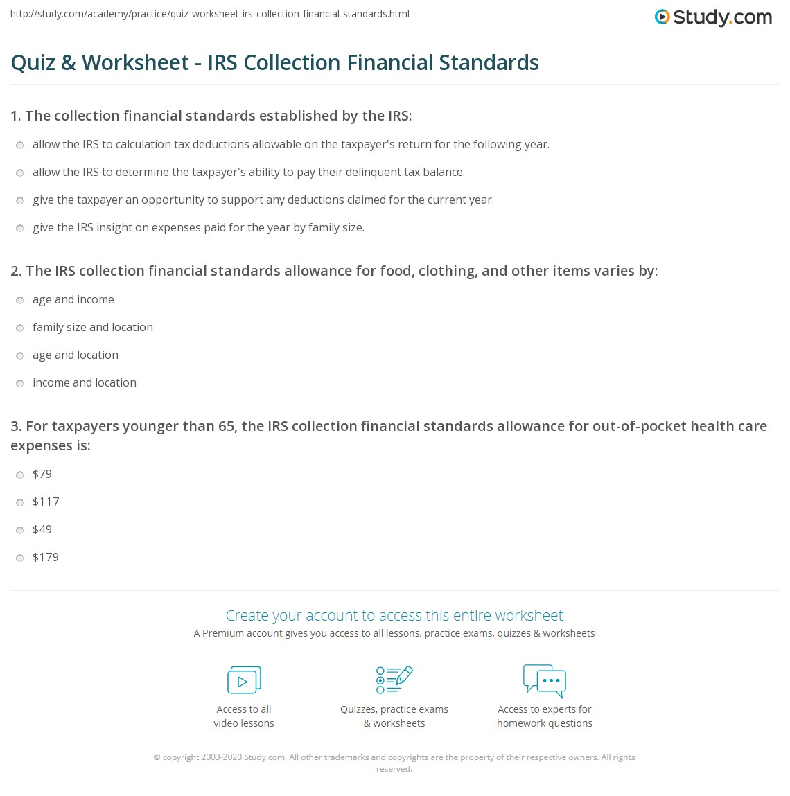 Quiz Worksheet Irs Collection Financial Standards Study
