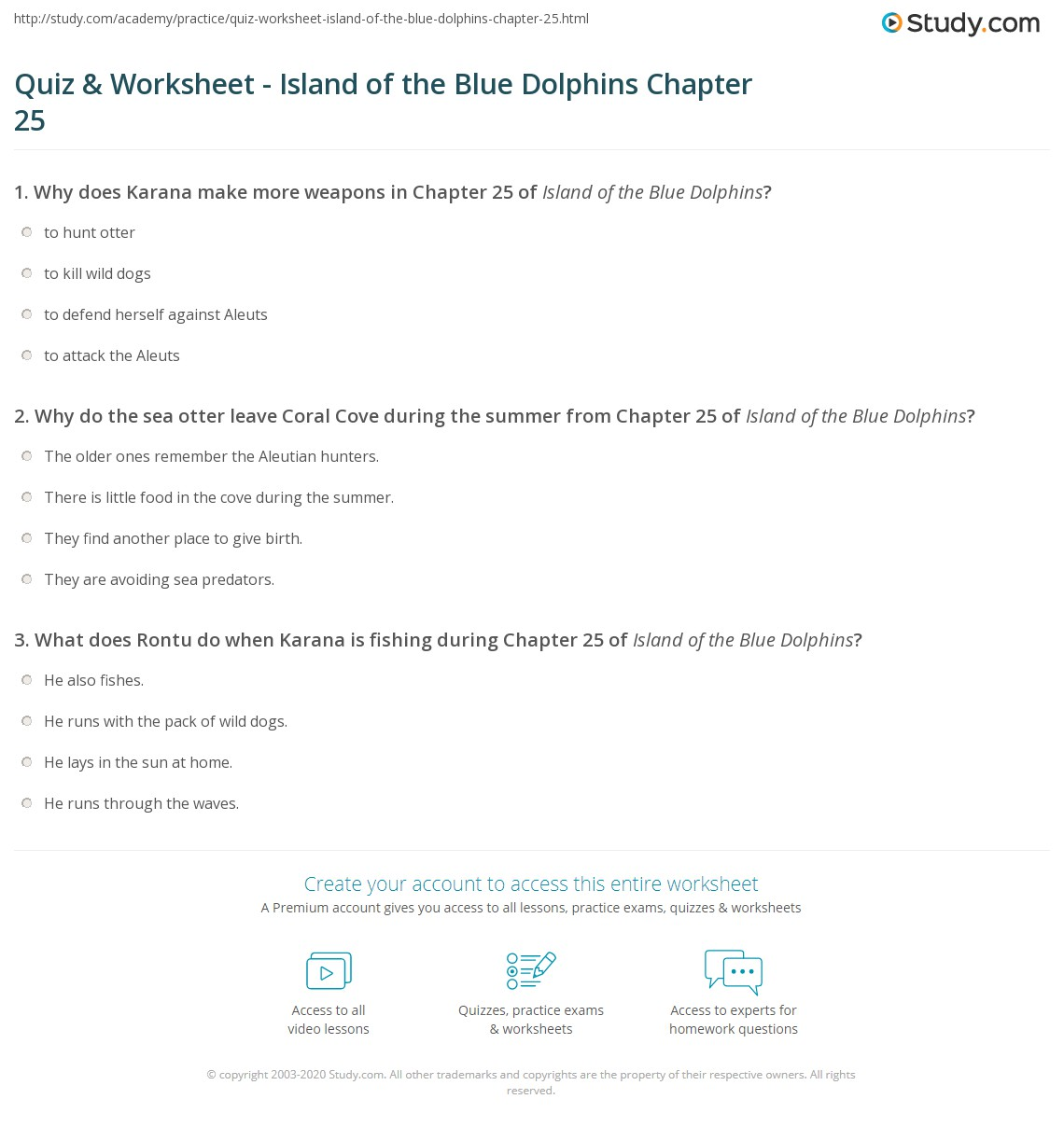 Quiz Worksheet Island Of The Blue Dolphins Chapter 25