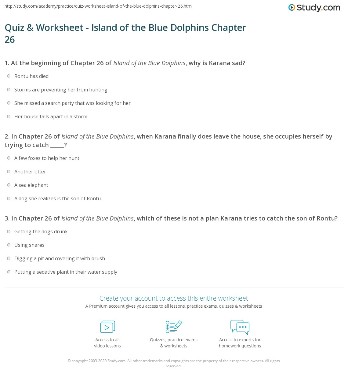 Quiz Worksheet Island Of The Blue Dolphins Chapter 26