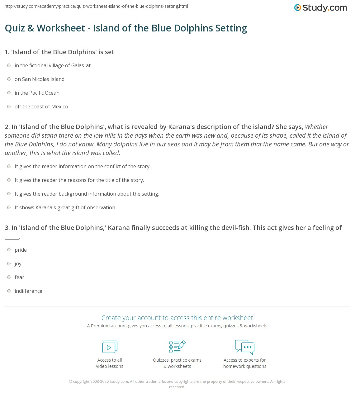 Quiz Worksheet Island Of The Blue Dolphins Setting