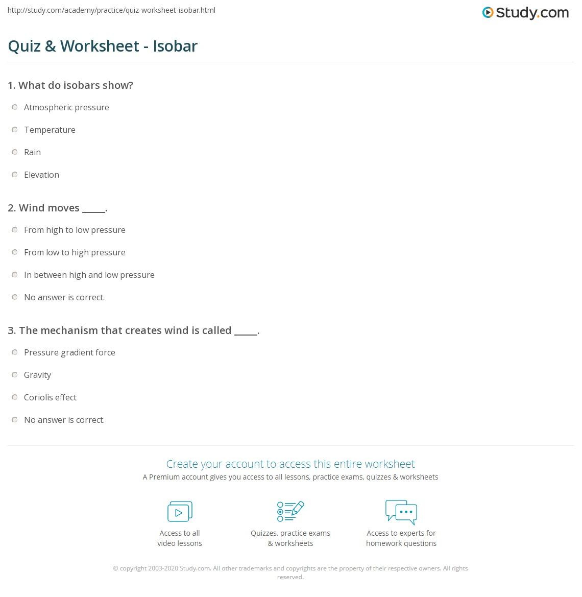 Quiz & Worksheet - Isobar | Study.com