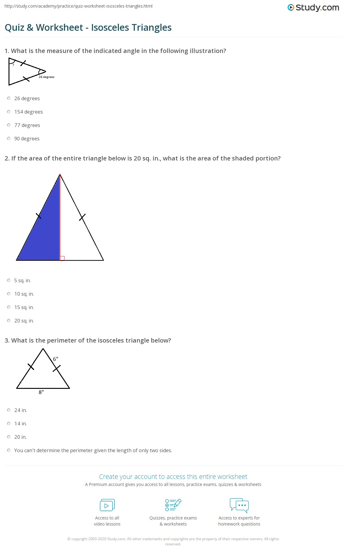 Worksheets Isosceles Triangle Worksheet quiz worksheet isosceles triangles study com print what is an triangle definition properties theorem worksheet