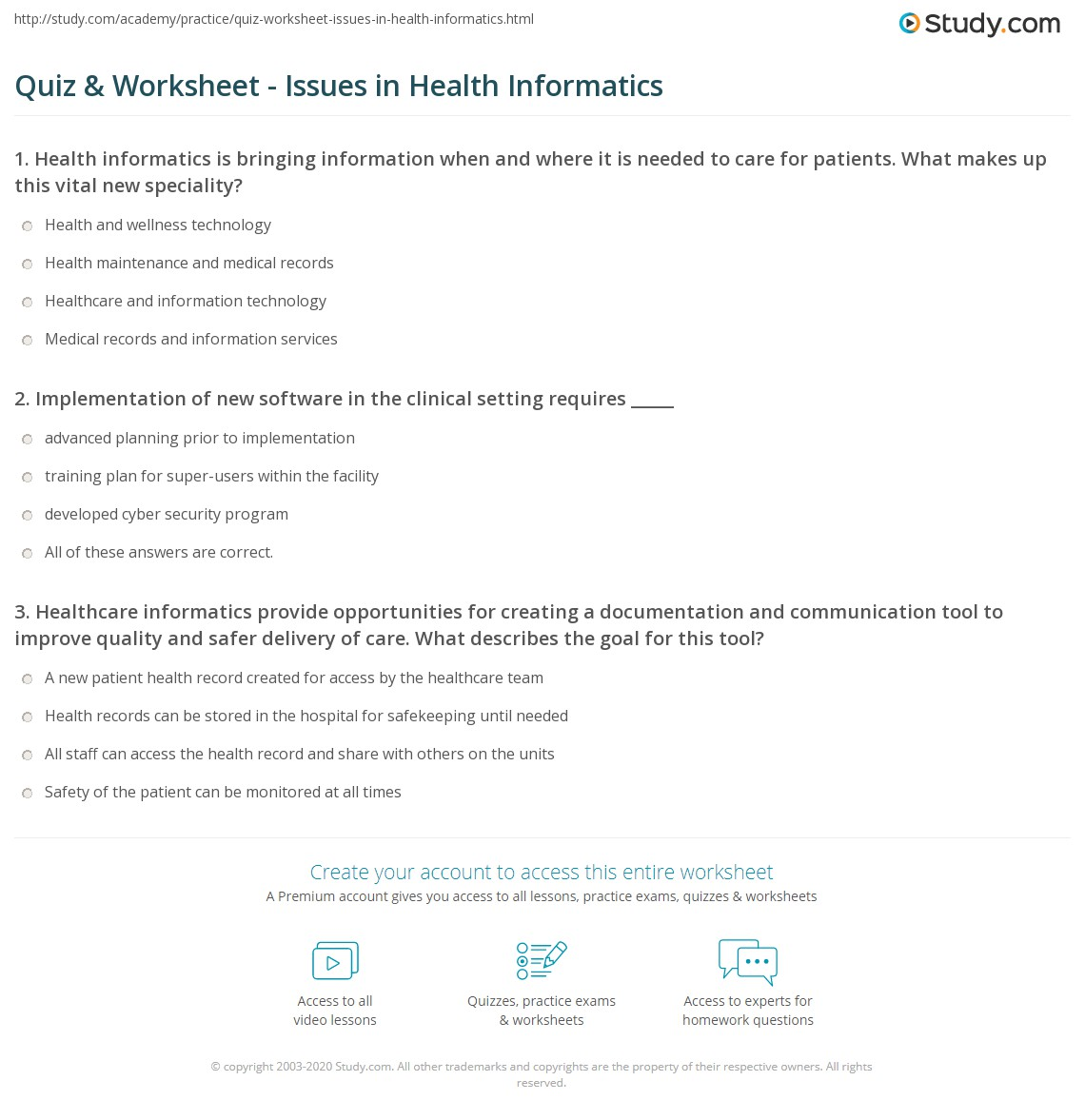 Quiz Worksheet Issues In Health Informatics Study