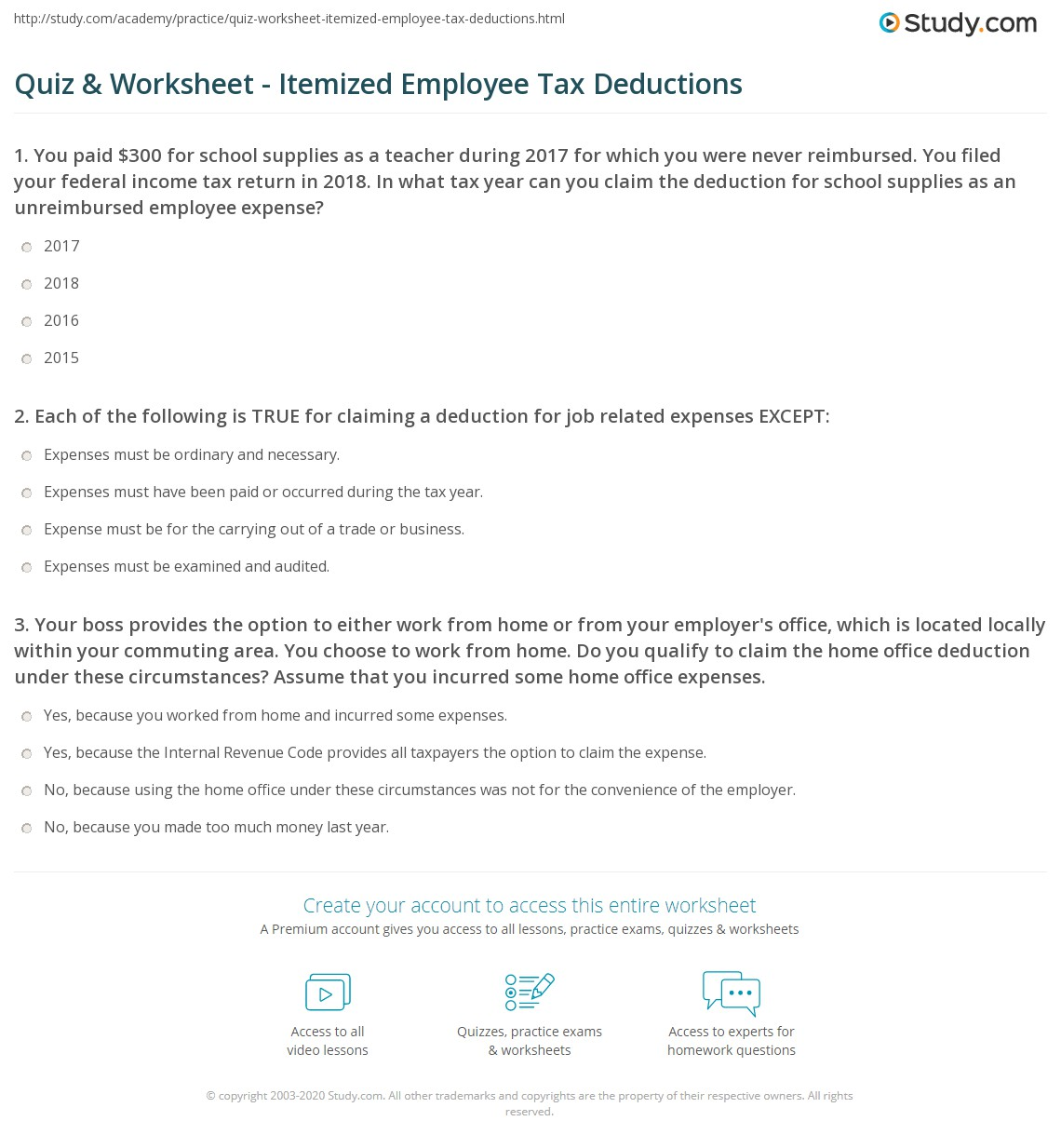 Itemized Employee Tax Deductions