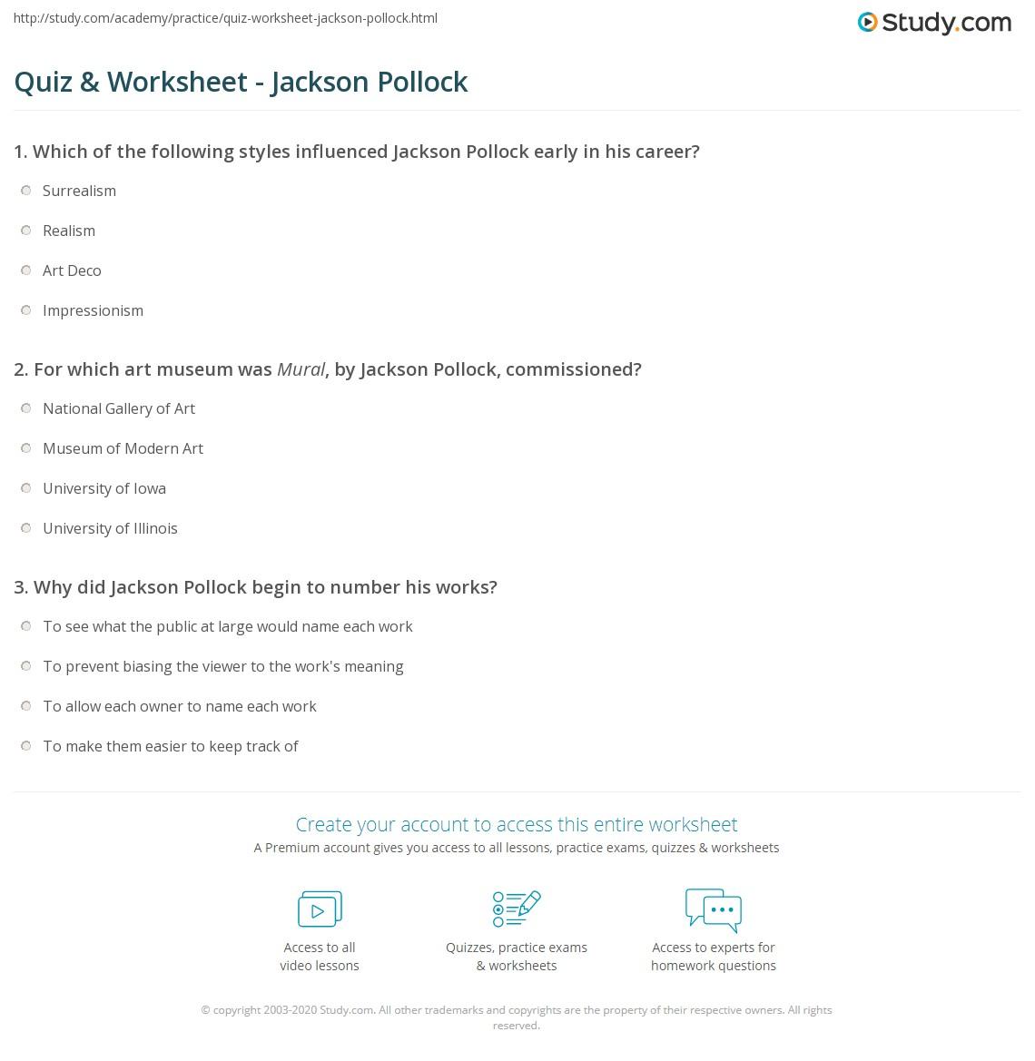 quiz worksheet jackson pollock. Black Bedroom Furniture Sets. Home Design Ideas