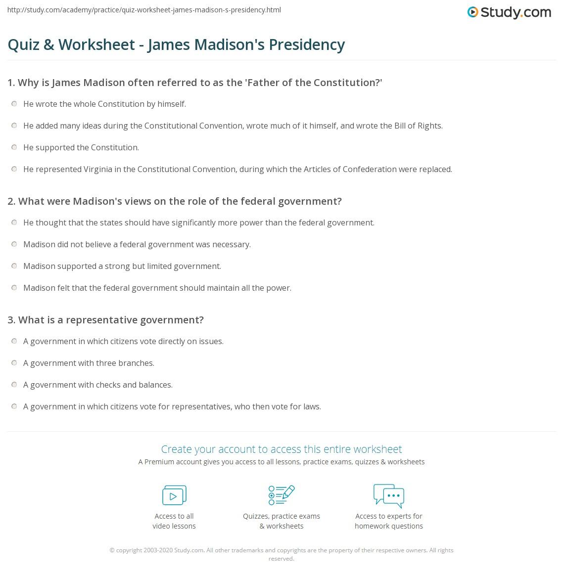 quiz worksheet james madison 39 s presidency. Black Bedroom Furniture Sets. Home Design Ideas