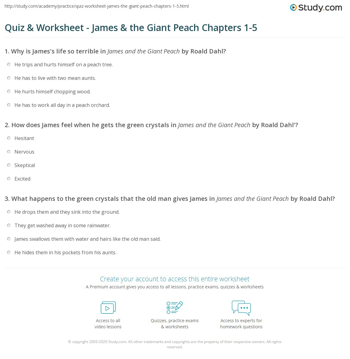Worksheets James And The Giant Peach Worksheets quiz worksheet james the giant peach chapters 1 5 study com print summaries worksheet