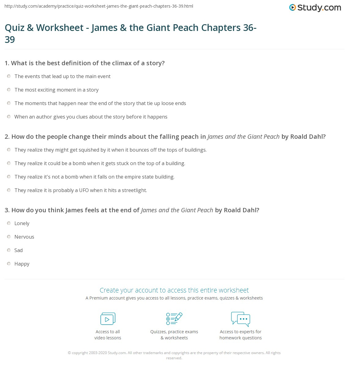 Quiz & Worksheet - James & the Giant Peach Chapters 36-39  Study.com education, alphabet worksheets, free worksheets, worksheets, multiplication, and grade worksheets James And The Giant Peach Worksheet 1443 x 1140