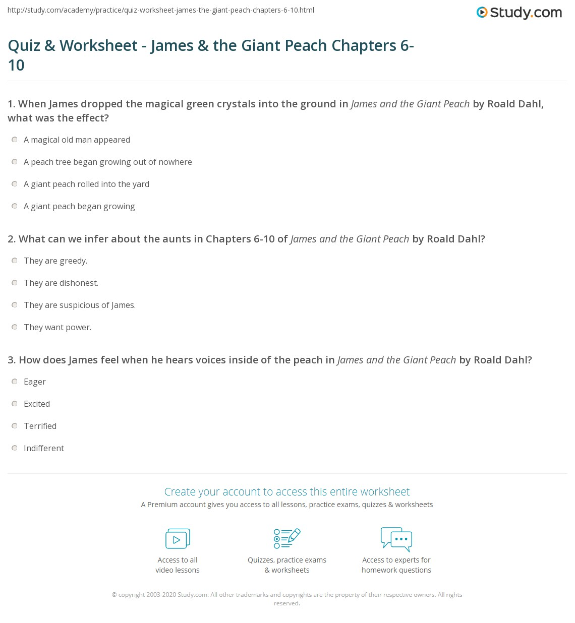 james and the giant peach test pdf