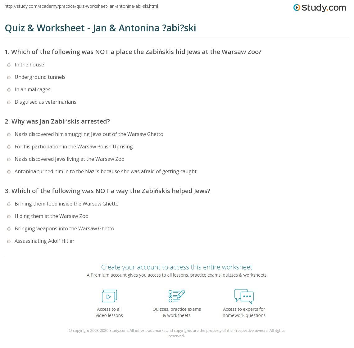 Quiz Worksheet Jan Antonina Abi Ski Study Com