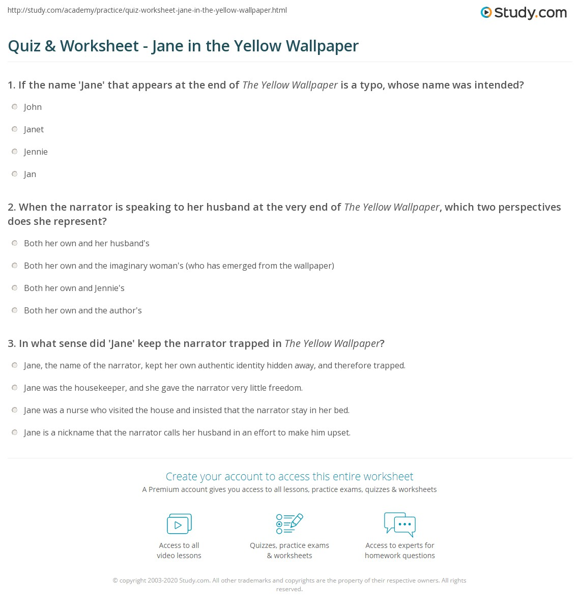 Print Who Is Jane In The Yellow Wallpaper Worksheet