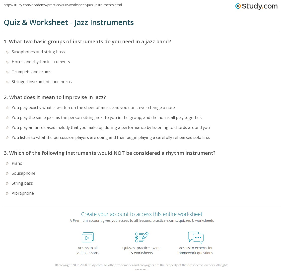 worksheet Band Worksheets quiz worksheet jazz instruments study com print what are in a band worksheet