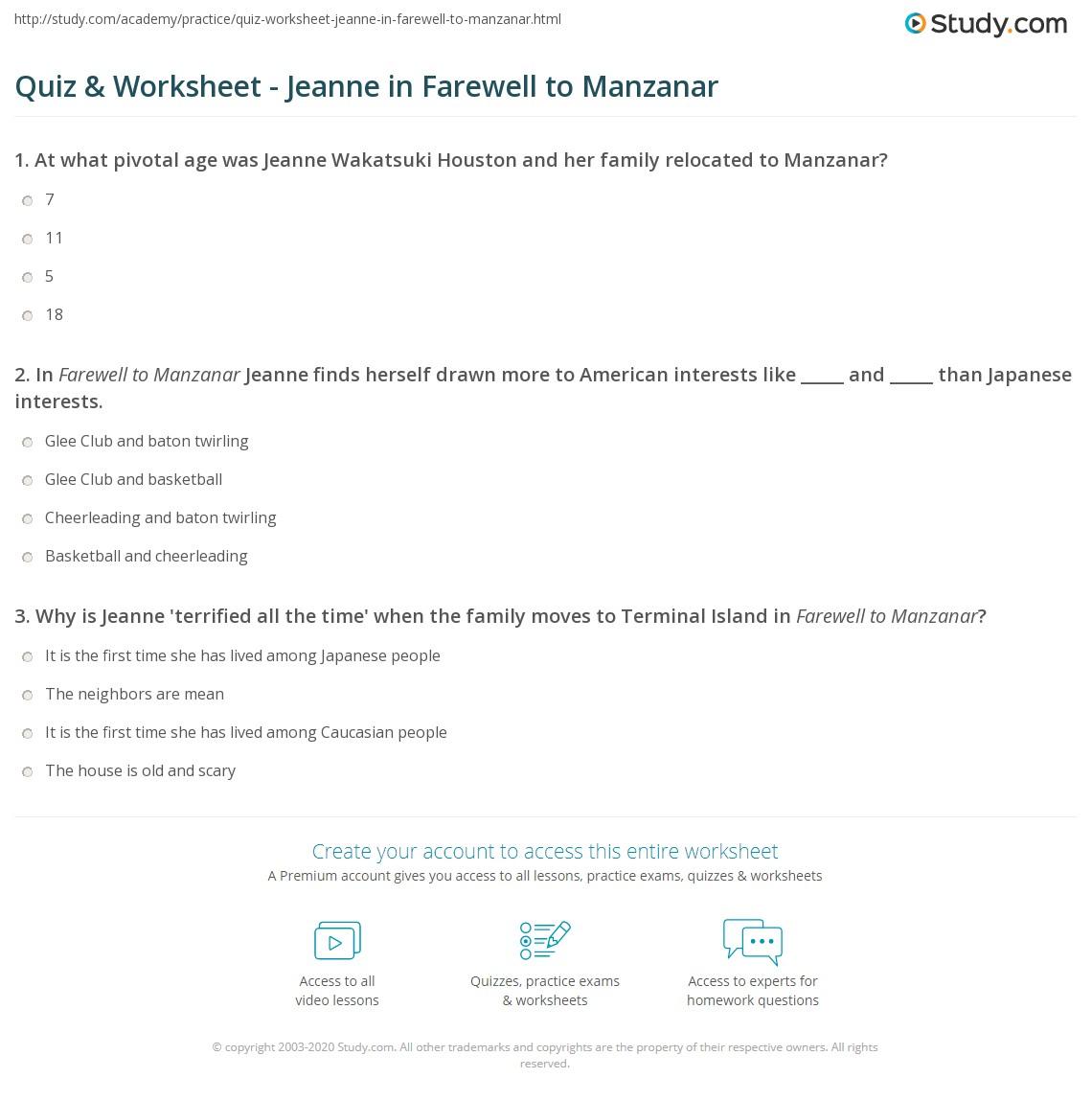 Worksheets Farewell To Manzanar Worksheets quiz worksheet jeanne in farewell to manzanar study com print who is the main character wakatsuki worksheet