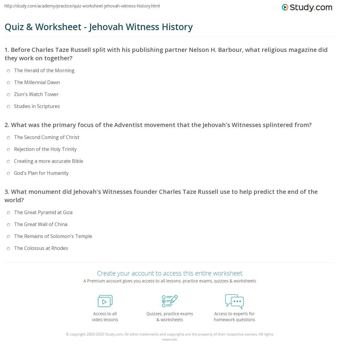 Quiz & Worksheet - Jehovah Witness History | Study com