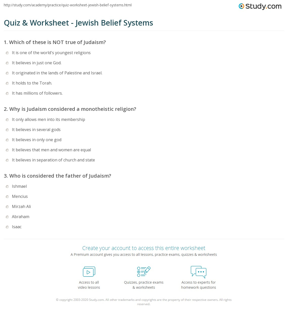 Quiz & Worksheet - Jewish Belief Systems | Study.com