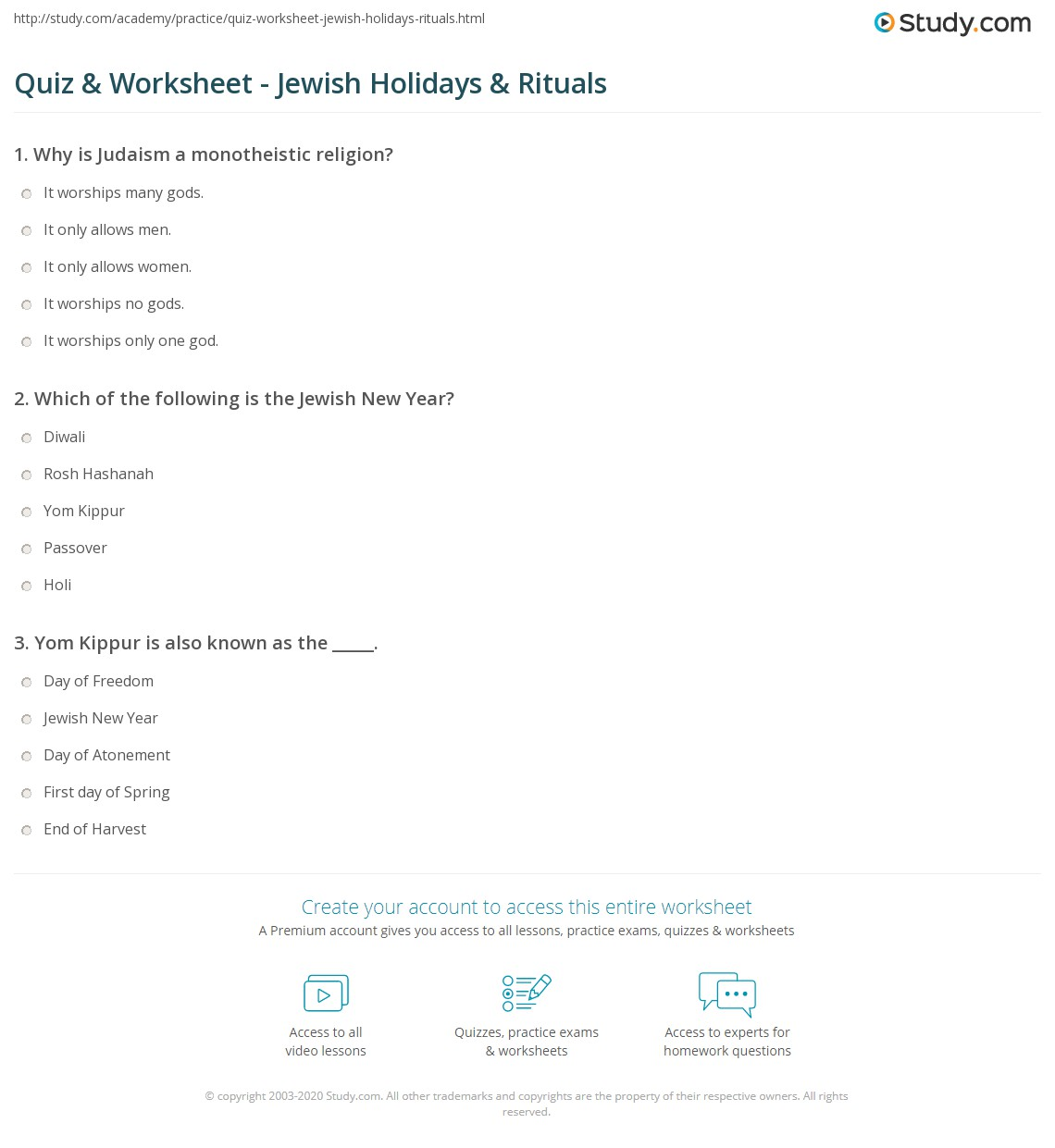 quiz worksheet jewish holidays rituals. Black Bedroom Furniture Sets. Home Design Ideas
