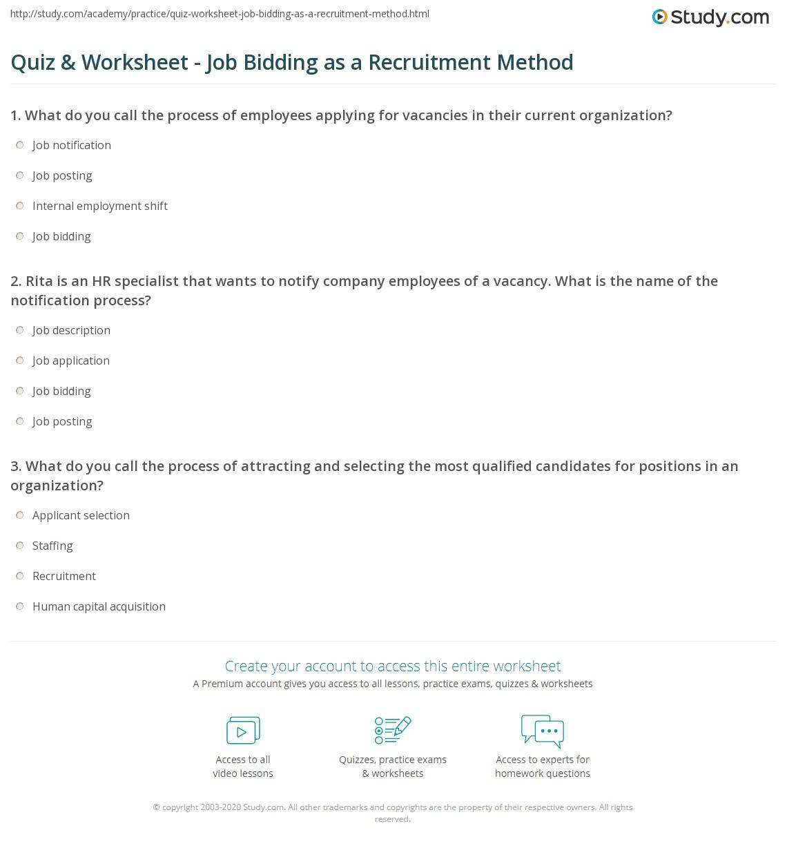 quiz worksheet job bidding as a recruitment method study com