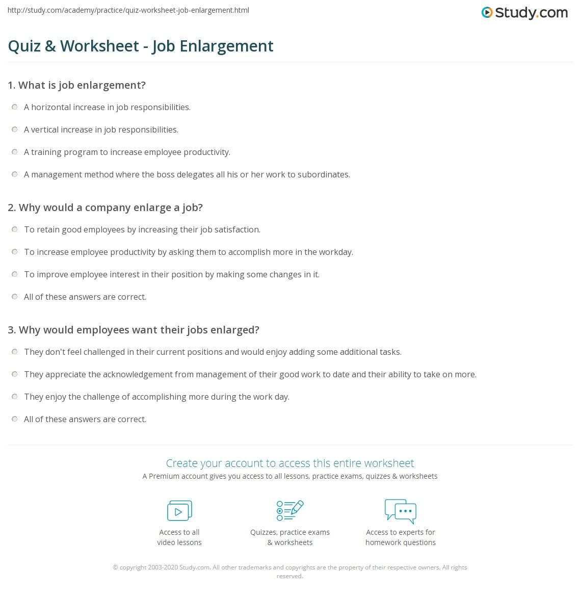 Quiz & Worksheet - Job Enlargement | Study.com