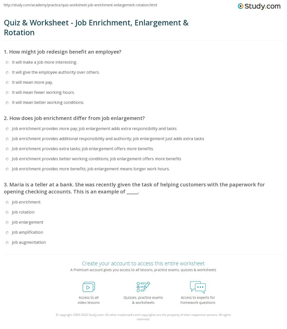 quiz worksheet job enrichment enlargement rotation com print types of job redesign job enrichment enlargement rotation worksheet