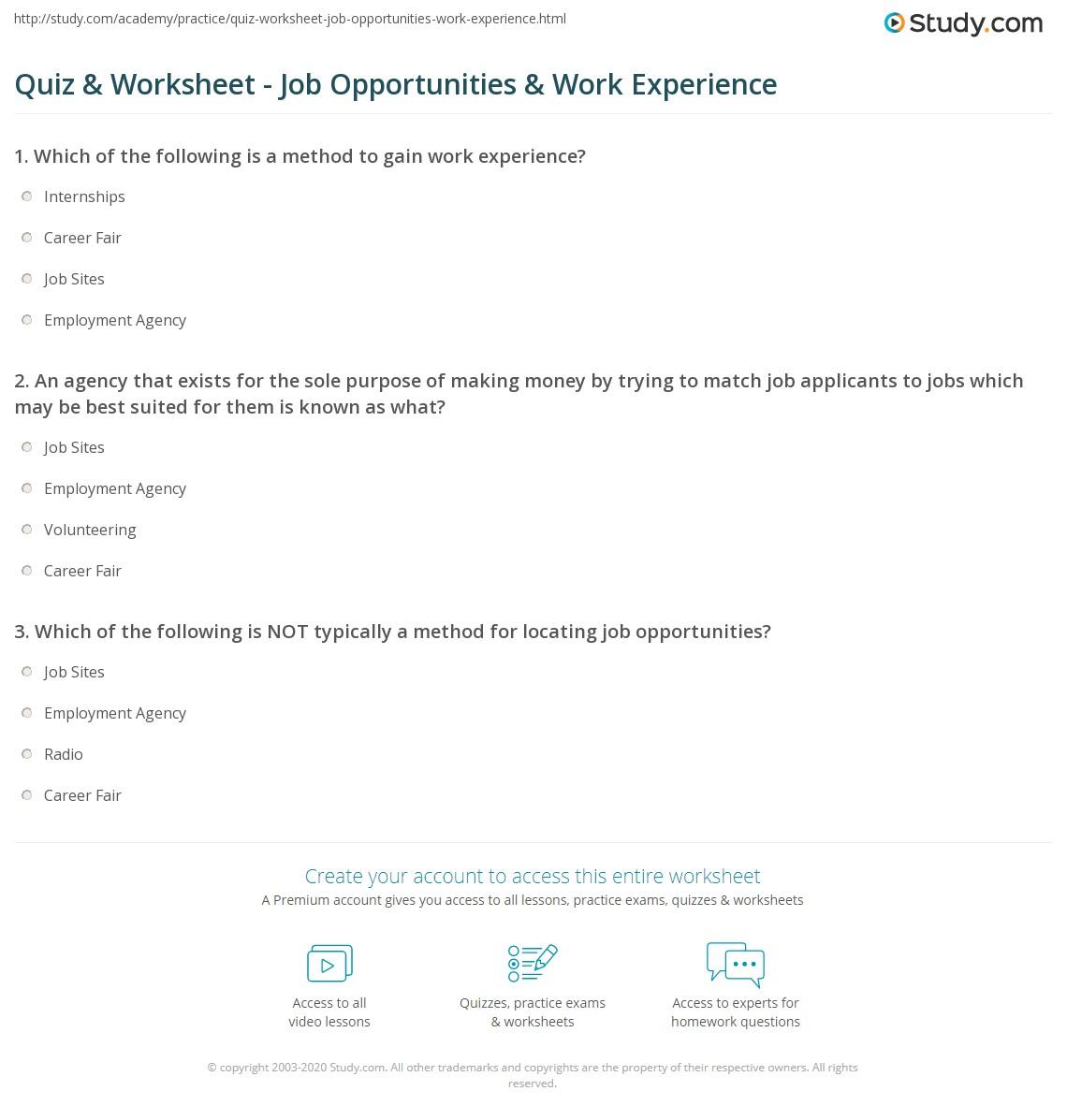 Quiz & Worksheet - Job Opportunities & Work Experience ...
