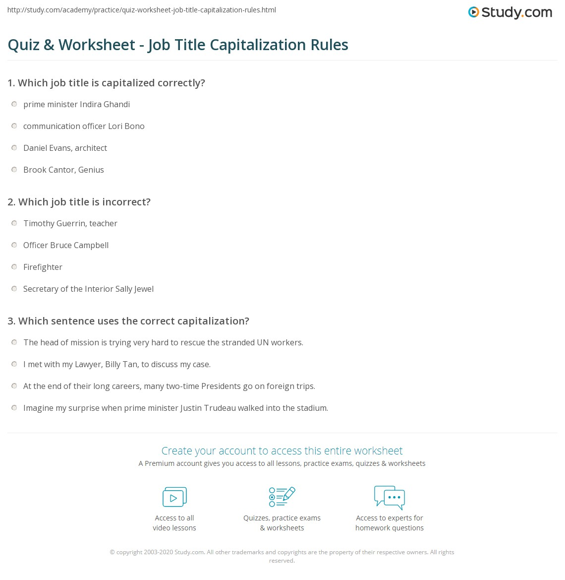 Free Worksheets a worksheet : Capitalization Of Job Titles