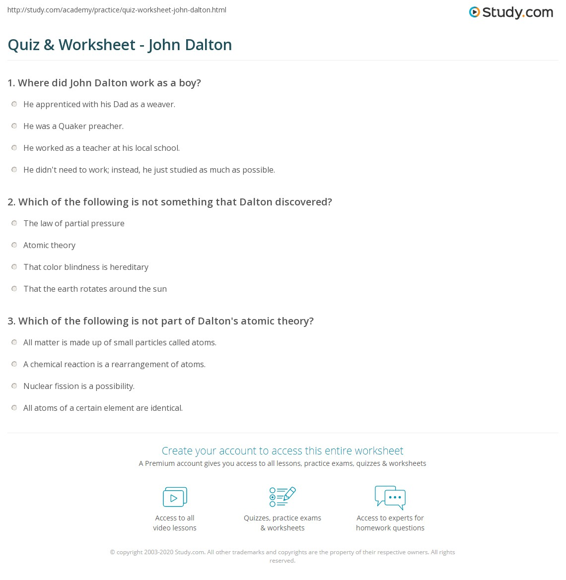 Quiz worksheet john dalton study which of the following is not something that dalton discovered gamestrikefo Image collections