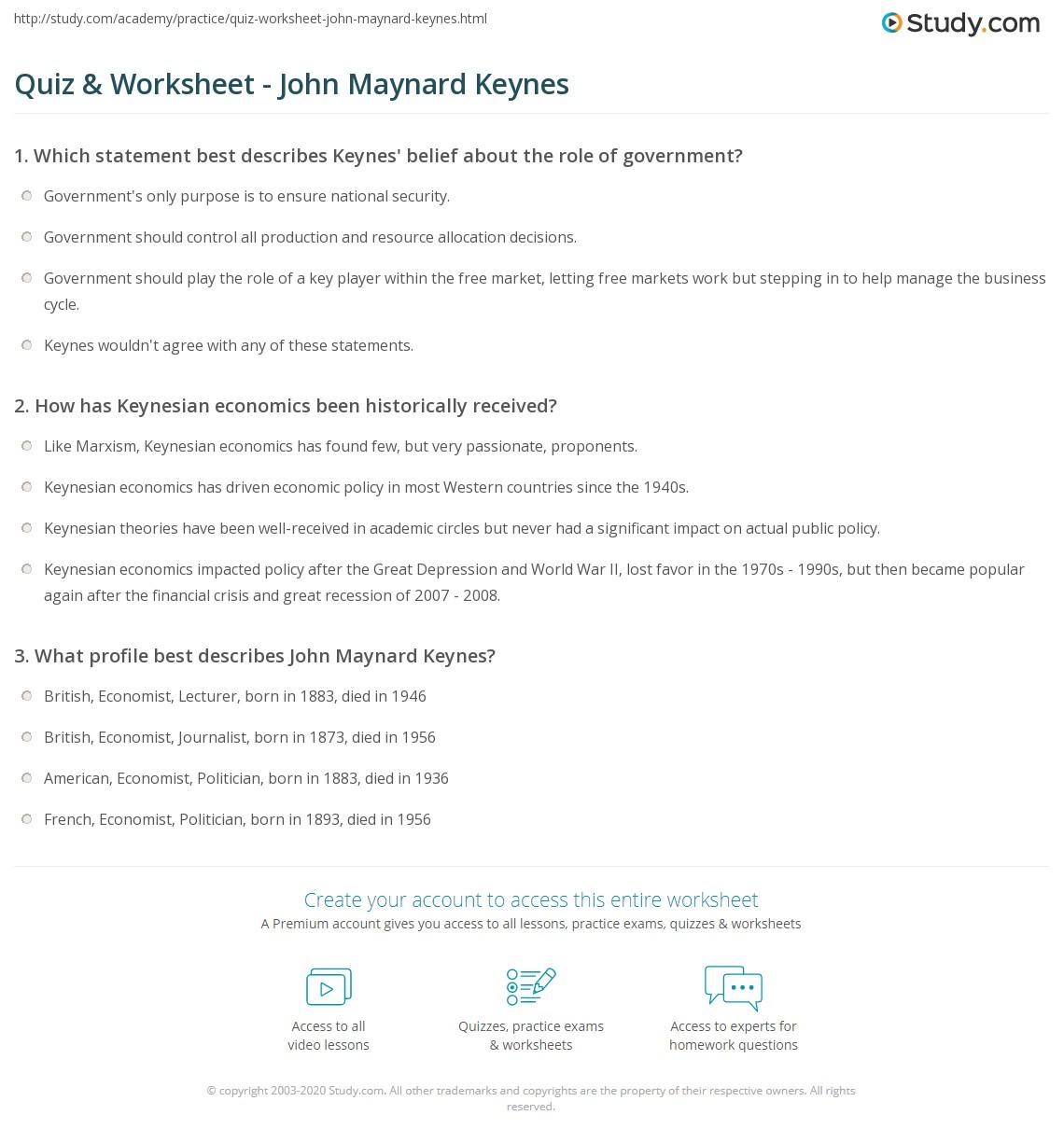 Quiz Worksheet John Maynard Keynes – Core Beliefs Worksheet