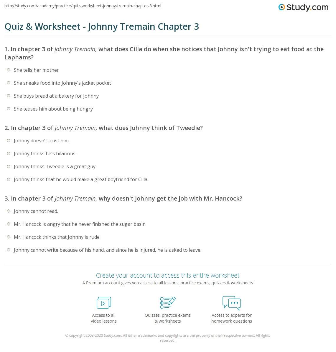 Quiz & Worksheet - Johnny Tremain Chapter 3 | Study com