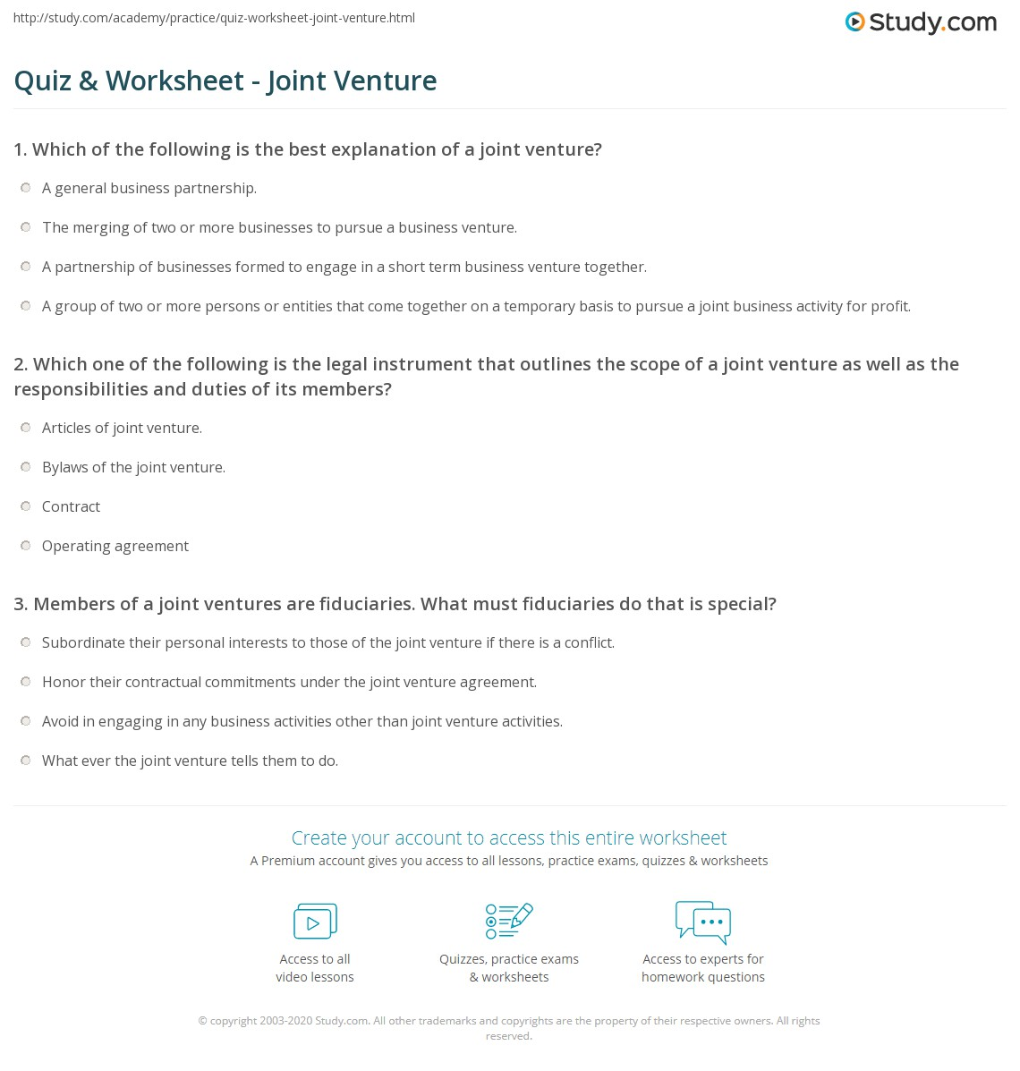 Quiz Worksheet Joint Venture – Partnership Basis Worksheet