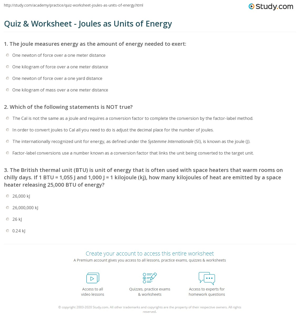 Quiz & Worksheet - Joules as Units of Energy | Study.com