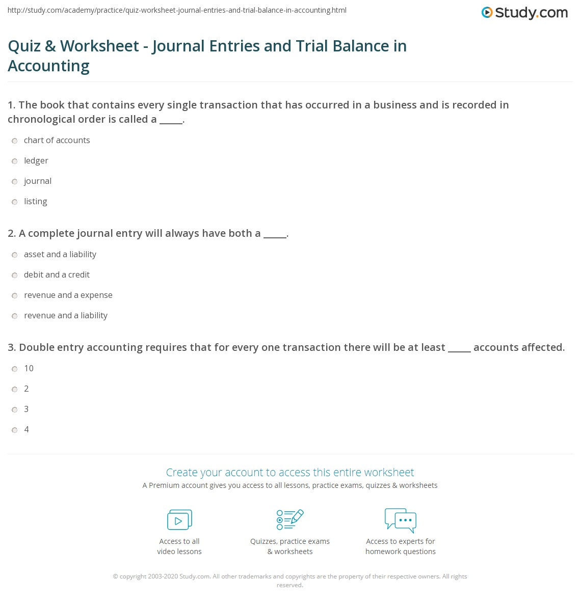 Quiz & Worksheet - Journal Entries and Trial Balance in ...