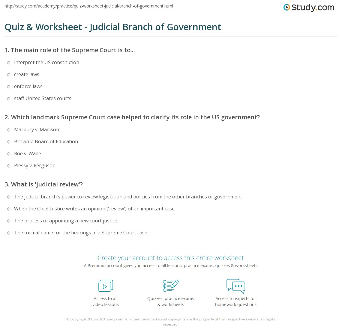 Worksheets Judicial Branch Worksheet quiz worksheet judicial branch of government study com print definition role power worksheet